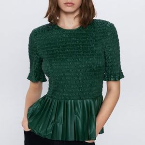 NWT Zara Green Ruched Faux Leather Top
